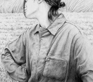 Dibujo, mujer, rural