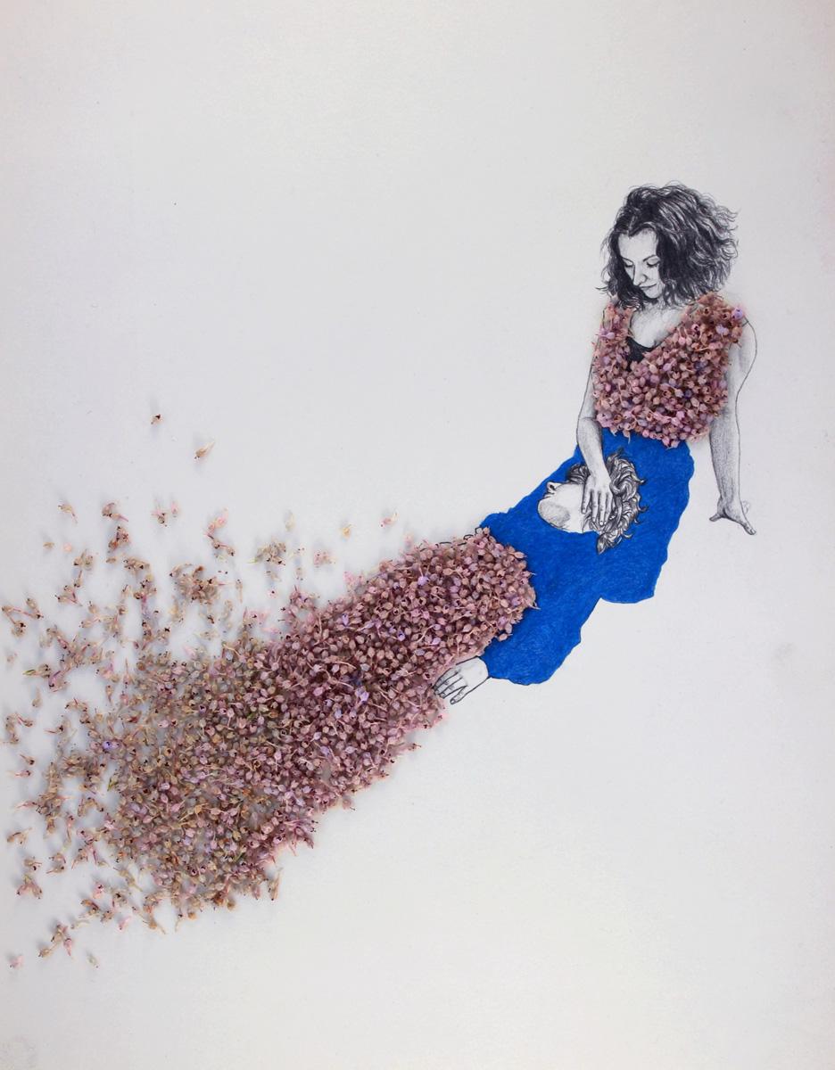 Tornarse-baixo (dibujo con flores de brezo)