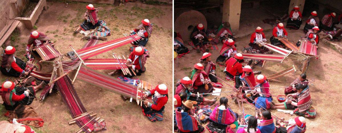 Tejedoras peruanas con telar de cintura